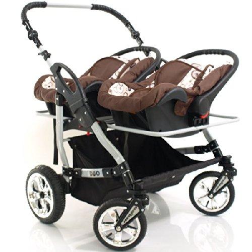 adbor duo 3in1 zwillingskinderwagen mit babyschalen. Black Bedroom Furniture Sets. Home Design Ideas